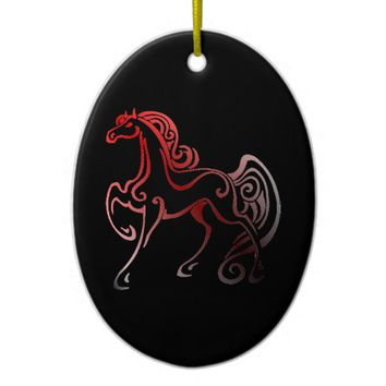 Horse Tails Ceramic Ornament