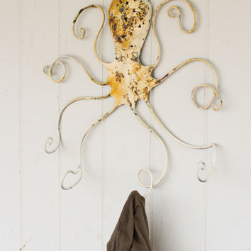 Metal Octopus Coat Rack - Antique White
