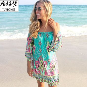plus size women clothing 2017 Summer Sundress casual fashion skater green dress robe femme boho dress bohemian Tunic Beach tube
