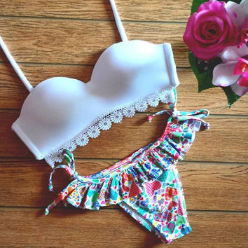 New Summer Sexy Women bikini flower pattern swimsuit lace edge Swimwear -0711