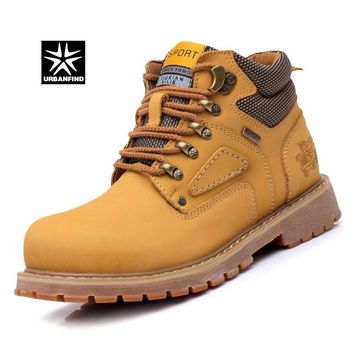 URBANFIND Men's Sports Fashion Work Safety Lace-Up Leather Ankle Boots Shoes