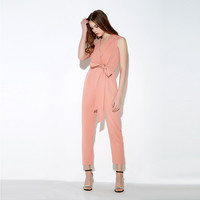 V-neck tie sleeveless office lady rompers spring fashion long jumpsuits