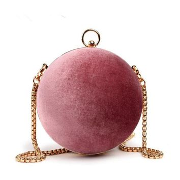 Beaded Corduroy Look Ball Handbag