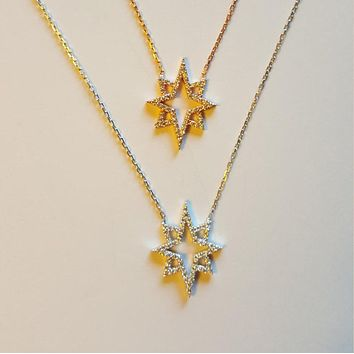 Solid 925 Sterling Silver White Zirconia Eight Corner Star Necklace