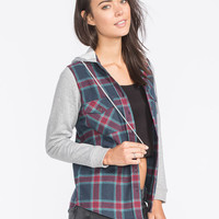 Full Tilt Womens Hooded Flannel Shirt Multi  In Sizes