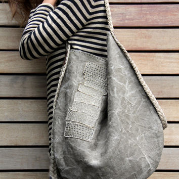 The Driftwood + Seaweed Slouch - Handcrafted Vintage Belgian Linen Hobo Slouch Shoulder Bag