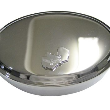 Zambia Map Shape and Flag Design Oval Trinket Jewelry Box