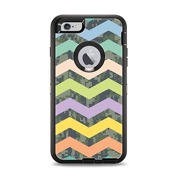 The Vibrant Colored Chevron With Digital Camo Background Apple iPhone 6 Plus Otterbox Defender Case Skin Set