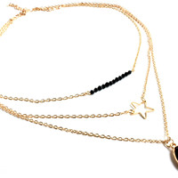 """Take the Night"" Gold Multilayer Pendant Chain"