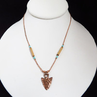 Vintage Copper Arrowhead Pendant Necklace, 1970s Hippie Jewelry
