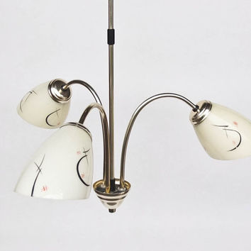 Midcentury Ceiling Lamp / Three Bulbs Chandelier / Pendant Light
