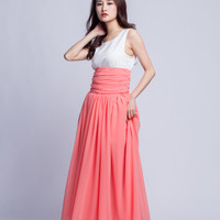 Floor Length Summer Skirt High Waist Maxi Skirts Beautiful Chiffon Long Skirt Pleated Waist Women Skirt (501) ,pink