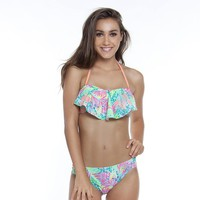 SO Palm Leaf Flounce Bandeau Bikini