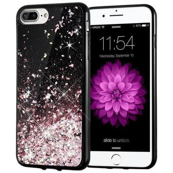 Iphone 7 Plus Case Caka [starry Night Series] Bling Flowing Floating Luxury Liquid Sparkle Tpu Bumper Glitter Case For Iphone 6 Plus/6s Plus/7 Plus/8 Plus (5.5 Inch)   (rosegold)