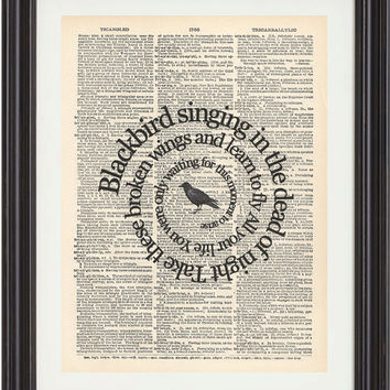Blackbird  Song Lyrics The Beatles Music Art by TexasGirlDesigns