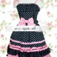 Lolita Costumes Black Polka Dot Bow Cotton Sweet Lolita Dress [T110609] - $82.00