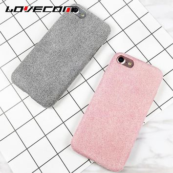 LOVECOM For Iphone7 7 Plus 6 6S Plus Back Cover Winter Hot Fuzzy Candy Color Parttern Soft Anti Shock Mobile Phone Cases Shell