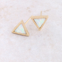 Three Point Opal Earring