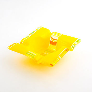 Yellow Glass Ashtray, Cigar Ash Tray, Smoking Accessories, Cigarette Tray, Unique Home Decor, Fused Glass, One of a Kind, Gifts for Smokers