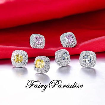 Total 2 ct (1 ct each) Cushion Cut Man Made Yellow Diamond Double Halo Earrings, Bridal Earrings - FairyParadise