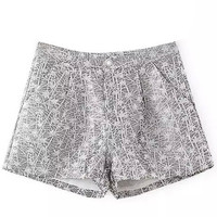 Grey Jacquard Tailored Shorts