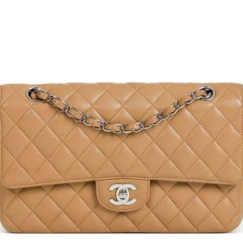 CHANEL MOCHA QUILTED CAVIAR LEATHER SMALL CLASSIC DOUBLE FLAP BAG HB1312