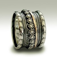 Sterling silver oxidized band with silver and gold by artisanlook