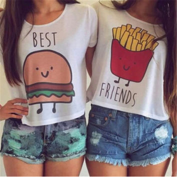 Ladybro Cartoon Hamburg or Frech Fries Printing T-shirt Women Girl Best Friend Casual Blouse Tops