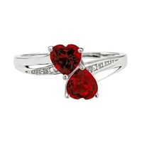 Garnet Double Heart and Diamond Sterling Silver Birthstone Ring - S...