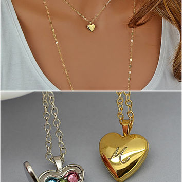 small locket heart necklace jewelry womens photo shop new shopping chain girls season special tone in ladies flower print pendant lockets gold