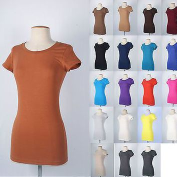 Women Basic Plain Round Crew Neck TEE SHIRTS Stretch Short Sleeve Top T-Shirts