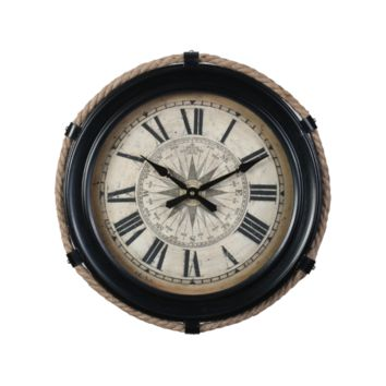 Mariner's Compass Rose Wall Clock -- 15-in
