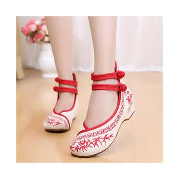 Vintage Bamboo Style Embroidered Old Beijing Red Cloth Shoes for Woman Online with Colorful Ankle Straps