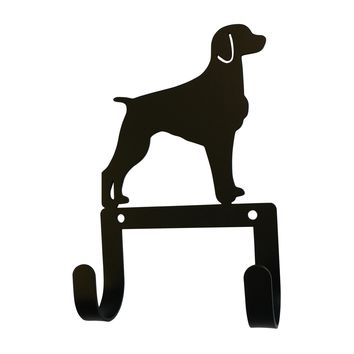 Wrought Iron Brittany Dog Leash & Collar Wall Hook