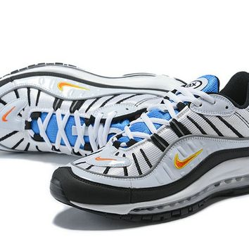 Nike Air Max 98 White Team Orange Metallic Silver
