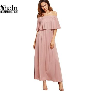 SheIn Pink Long Dresses Off the Shoulder Autumn Dresses Women Elegant Ladies Half Sleeve Layered Ruffle A Line Dress