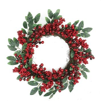 "18"" Decorative Red Berries and Two-Tone Green Leaves Artificial Christmas Wreath - Unlit"