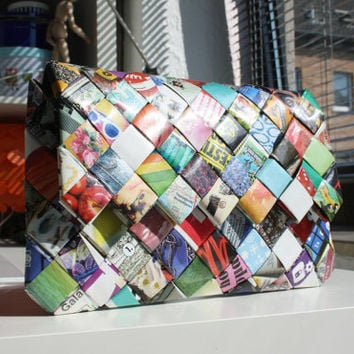 Paper Flap Clutch / Bag / Clutch Purse / Handbag - Handmade - Recycling Paper - Colourful Clutch bag - Magnet - bridesmaid bag - birthday