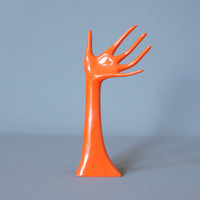 VINTAGE DISPLAY HAND, Shop Display Hand, Retro German Orange Hand, 1960s or 1970s, Orange Hand, Ring Holder, Ring Display Hand Active