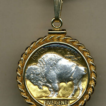 Gorgeous 2-Toned Silver on Gold Sacred White Buffalo nickel Necklaces