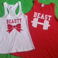 Free Shipping for US Beauty And The Beast Matching Couples Tank Tops/Shirts: Red and White Different Version