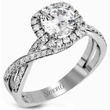 "Simon G. Round Cut ""Twist"" Halo Split Shank Diamond Engagement Ring"