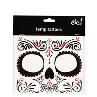Swirl Sugar Skull Face Tattoo