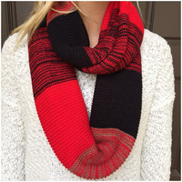 Red & Navy Knit Infinity Scarf