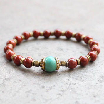 genuine red jasper and turquoise gemstone mala bracelet
