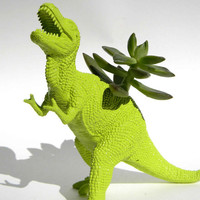Painted Plastic Dinosaur Planter TREX Great Dorm by crazycouture