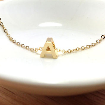 Capital Initial Necklace 14k Gold - personalized monogram necklace, bridesmaid necklace, gold filled initials
