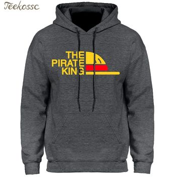 One Piece Hoodie Men Japanese Anime Hoodies Mens The Pirate King Luffy Hooded Sweatshirt Winter Autumn Fleece Pullover Youth