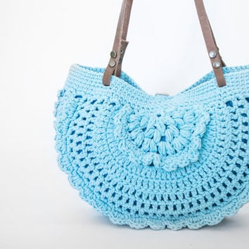 BAG // Turquoise Blue Summer Bag - Handbag Celebrity Style With Genuine Leather Straps / Handles shoulder bag-crochet bag-hand made