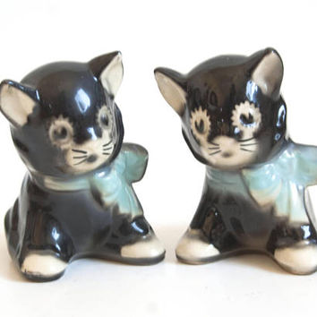PAIR- Vintage Black Cat Planters, Blue Bow Kitten Succulent Flower Pot Air Plants, Kitsch 1950's Decor, Indoor Garden